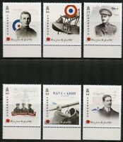 GUERNSEY 2017 CENTENARY OF WORLD WAR I  AIRMEN SET OF SIX MINT NH