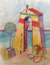"Dimitris C. Milionis  ""AEGEAN TEMPLE OF LOVE""  Colored Drawing Paper Greek 2002"