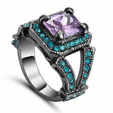 Size8 Purple Amethyst &blue CZ Wedding Ring Black Rhodium Plated Women's Jewelry