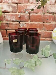 SET OF 6 1970S LARGE LUMINARC RED  FRENCH GLASSES GOOD CONDITION 12.5CMS HIGH