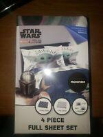 "Star Wars The Mandalorian ""The Child"" Baby Yoda 4 Piece Full Sheet Set NEW"