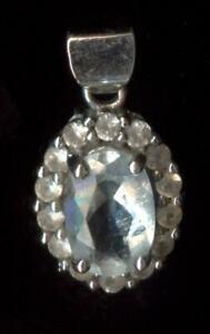 10K Fine Solid White Gold 7mm Oval Blue Aqua Aquamarine Gemstone Pendant hE