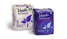 Veeda Ultra Thin Day and Night Pads with Wings,Natural Cotton, 1 Box Each
