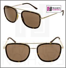 d24726716e1e BURBERRY BE3085Q Brushed Gold Brown Havana Rubber Metal Square Sunglasses  3085