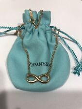 """Tiffany & Co 18K Yellow Gold Infinity Necklace 16"""" Chain"""