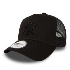 NEW ERA MENS BASEBALL CAP.NEW YORK YANKEES MLB BLACK A FRAME MESH TRUCKER HAT 74