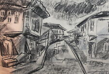 Impressionist charcoal drawing landscape street signed