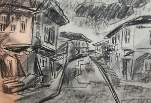Impressionist charcoal drawing landscape street signed