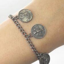 "Religious Charms Link Bracelet 7"" Antique Victorian 925 Sterling Silver Saints"