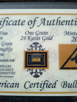 ACB GOLD 1GRAIN 24K SOLID BULLION MINTED BAR 99.99 FINE CERT 0F AUTHENTICITY $