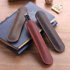 Handmade Cowhide Leather Bsuiness Single Pen Bag Vintage Pencil Case