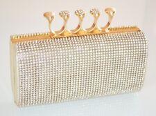 BOLSO CLUTCH bag oro mujer strass cristales matrimonio elegante ceremonia sac 5N