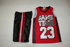 Boys Muscle T-Shirt & Shorts Sleevlss V-Neck Game Time Red Black Gray Size 7