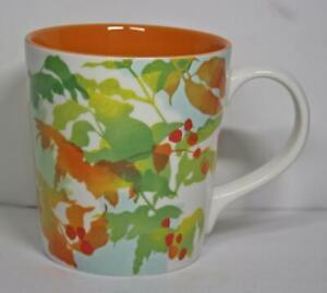 2008 Starbucks Coffee Mug Fall Flowers Orange Interior White Berries