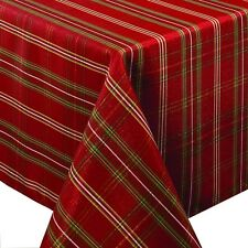 Christmas Tablecloth Rectangle Holiday Metallic Printed Fabric 60 X 84  Inches