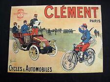 AFFICHE PUBLICITE CYCLES AUTOMOBILE CLEMENT PARIS ILLUSTRE PAR BOMBLED 32.5/23.5