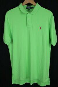 Polo Ralph Lauren Mens sz Large Lime Green Soft Cotton Shirt Pink Pony