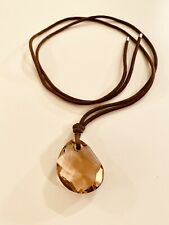 New ListingSwarovski Brown Crystal Necklace W/ Leather Cord Lace