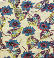 """Vintage Partial Feed Sack Small Blue Floral /& Orange Fruit on Yellow  21/"""" x 18/"""""""