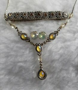 Vintage Style Avon Necklace With Faceted Stud Earrings & Rhinestone Bracelet