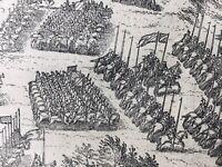 Combat Militaire 1590 Huguenot Protestant Rare Gravure Armée Artillerie