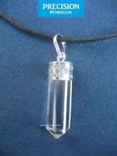 Clear Crystal Quartz Point Pendant with Cord and Silver Binding Necklace Healing