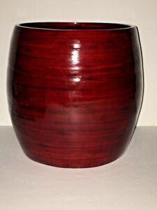 """Lacquerware Red  7 1/4""""T Flower Brush Pot Pencil Eco Friendly Vase 6"""" D Vietnam"""