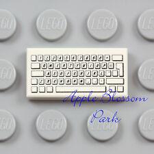 NEW Lego COMPUTER KEYBOARD 1x2 White Printed Tile Minifig Office Desk Key Board