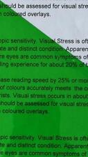 A4 121 foglio di colore verde Overlay DISLESSIA lettura di stress trasparente