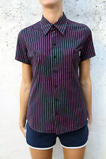CARHARTT LADIES Short Sleeved Casuals Black Pink Cotton Striped Shirt Top S nice