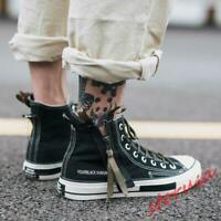 Men's Black High Top Canvas Shoes Lace Up Sport Shoes Zipper Punk Sneaker Casual
