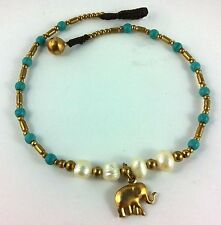 Anklet Elephant Charm Bronze Fresh Water Pearls Gold Bells Turquoise Beads Gypsy
