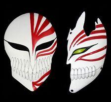 FD4471 □ Bleach Ichigo Kurosaki Bankai Hollow Mask Full + Half Cosplay Props 2PC