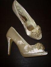 Perlenbesetzte Elegante Talons Hauts Bridal Shoes Samnita Ivoire Gr. 37 Neuf
