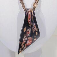 Black red white bronze color lampwork glass asymmetric pendant beaded necklace