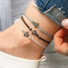 4pcs Vintage Turtle Pendant Anklet Bracelet Leather Women Foot Beach Jewelry