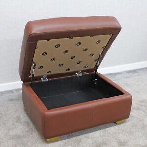 (74) G Plan Kensington Conker Leather Storage Ottoman Footstool