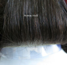 Hair Replacement System Skin Front Hairpieces Men Toupee Wig Mono Center 1B