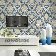 "Vintage Blue/Cream Damask Textured Wallpaper Roll home wall decor 20.8""x393.7"""