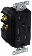 Leviton T5832-E 20-Amp USB Charger/Tamper Resistant Duplex Receptacle, Black