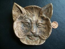 Antique Brass Cat Head Ashtray/Trinket/Spoon rest/ Dish Original!.