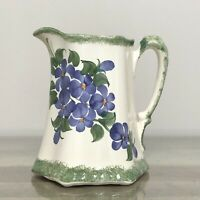 Vintage CASH FAMILY Hand Painted Pottery Pitcher Flowers Floral 7""