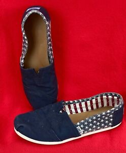 TOMS Classic Shoes Slip On AMERICAN FLAG Canvas Size 8 - READ