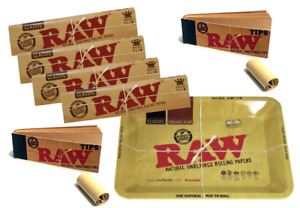 Raw Classic Rolling Papers Bundle Pack Tray Raw Tips Smoking Set Gift Pack