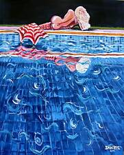 BEACH MERMAID Original Art PAINTING DAN BYL Nude Fantasy Collector Canvas XXL