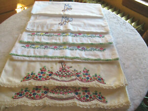 Vintage Embroidered Pillowcases 3 Sets Southern Bell Flowers Mr & Mrs Crochet