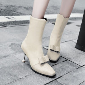Womens Pointy Toe Sweat Bowknot Faux Suede Stiletto High Heels Ankle Boots Shoes
