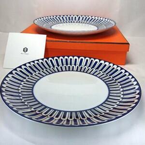 HERMES Dessert Plate Bleus d'Ailleurs Blue Dish Tableware 2 set Porcelain New