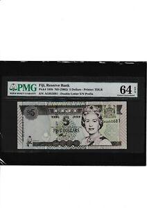 Fiji 5 dollars  2002 pmg 64  EPQ
