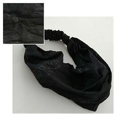 BLACK GLITTER BUTTERFLY DESIGN WRAP STRETCHY HEADBAND BANDANA NEW